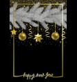happy new year with christmas tree and gold vector image vector image