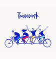 happy people bike together spirit teamwork vector image