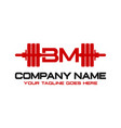initial logo bm barbell vector image vector image