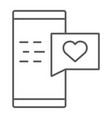 love message thin line icon chat and romance vector image vector image