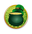magic pot of gold and leprechaun hat vector image