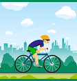man rides a bicycle healthy lifestyle sport vector image