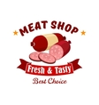 Meat and butcher shop emblem label vector image