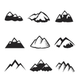 mountains icons isolated tourism silhouettes vector image vector image