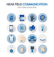 near field communication technology flat icons set vector image