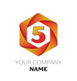 number five symbol on colorful hexagonal vector image vector image