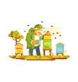old beekeeper in bee-garden vector image vector image