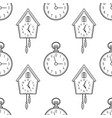 pocket watch and cuckoo clock black and white vector image vector image