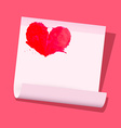 red heart on paper sheet on pink background vector image vector image