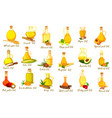 set isolated nut oil bottles organic drink vector image vector image