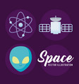 set objects for space universe vector image