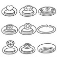 set of wedding ring vector image