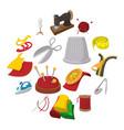 sewing cartoon icon vector image