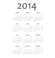 Simple calendar 2014 vector image
