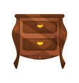 small low bedside table with two drawers with vector image vector image