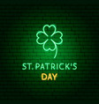 st patricks day clover neon label vector image