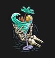 summer design concept beach skull hand vector image vector image