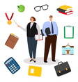 teachers and education icons vector image vector image