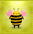 Valentines day greeting card with bee vector image vector image