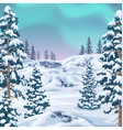 winter background with aurora borealis vector image vector image