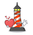 with heart lighthouse on the beach mascot vector image