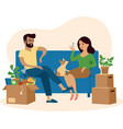 young beautiful couple moving to new home vector image