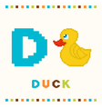 alphabet for children letter d and a duck vector image