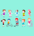 sport kids characters boys and girls vector image