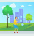 aged woman with soap bubbles in city park town vector image vector image