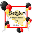 belgium independence day july 21 greeting card vector image