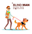 blind man person with pet dog companion vector image vector image