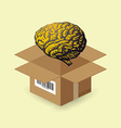 Brain in paper box vector image vector image