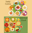 british thai and finnish cuisine icon set design vector image vector image