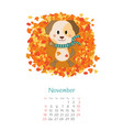 calendar 2018 months november with dog vector image vector image