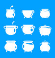 cauldron kettle halloween icons set simple style vector image vector image