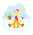 Christmas kid giraffe vector image