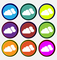 clouds icon sign Nine multi colored round buttons vector image