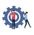 coworkers teamwork cartoon vector image vector image