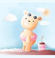 cute baby bear watercolor style vector image vector image