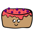 cute cake on white background vector image vector image