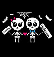 cute kawaii skeleton love couple boy and girl vector image vector image
