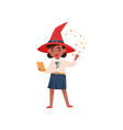 cute little girl dressed as a witch reading magic vector image