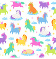 cute unicorns seamless patern fantasy magic vector image