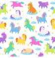 cute unicorns seamless patern fantasy magic vector image vector image