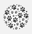 dark dog footprints round concept vector image