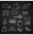 Finance business and money chalk icons vector image vector image