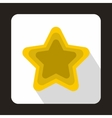 Golden shiny star icon flat style vector image