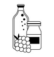 grapes juice bottles and fruit cartoon in black vector image vector image