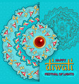 happy diwali turquoise template with floral vector image vector image