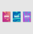 happy new year 2021 greeting poster set with vector image vector image